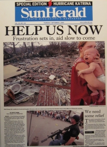 front page of Sun Herald after Katrina urging 'Help Us Now'
