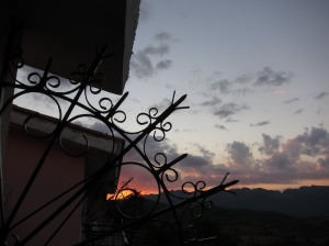 sunset, sky and part of the hotel balcony