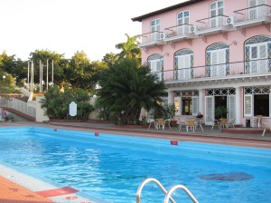 pink hotel and blue pool