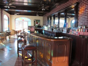 looking down the length of the bar