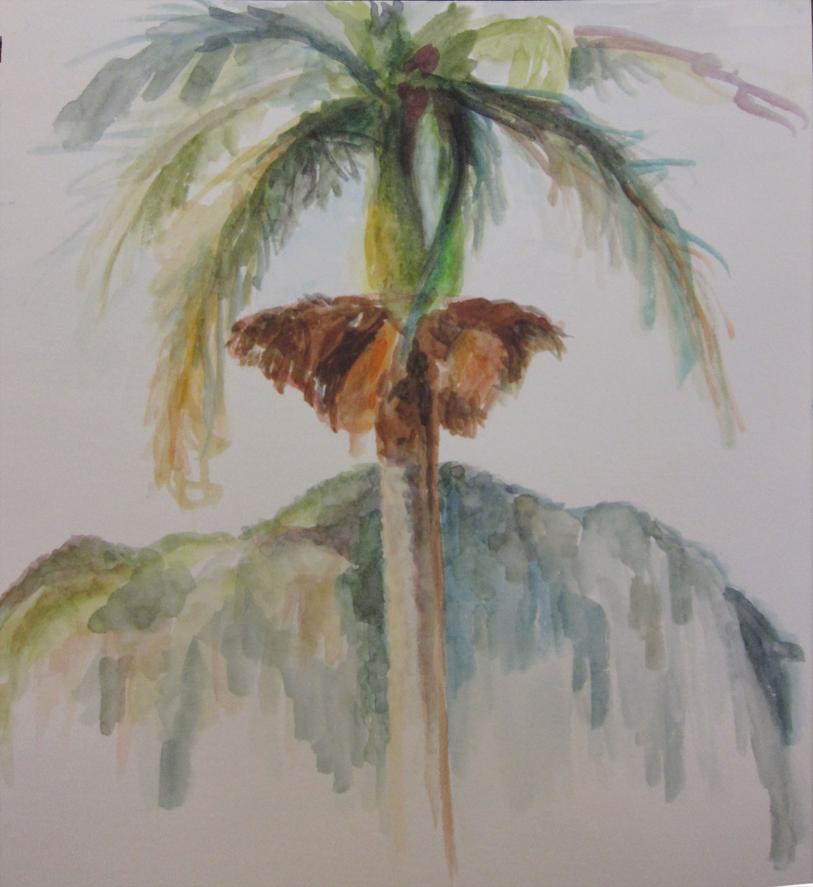 A painting of a solitary palm tree with mogote background, watercolor